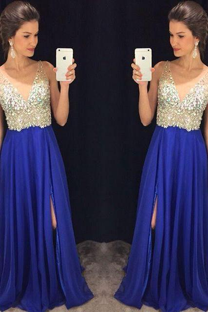 Side split Prom Dresses, blue chiffon beads Dresses for Prom,Fashion Evening Gown,Party Dress For Teens