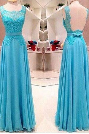 Custom Made Sleeveless Lace And Chiffon Long Blue Prom Dress Cheap Prom Dresses Prom Dress