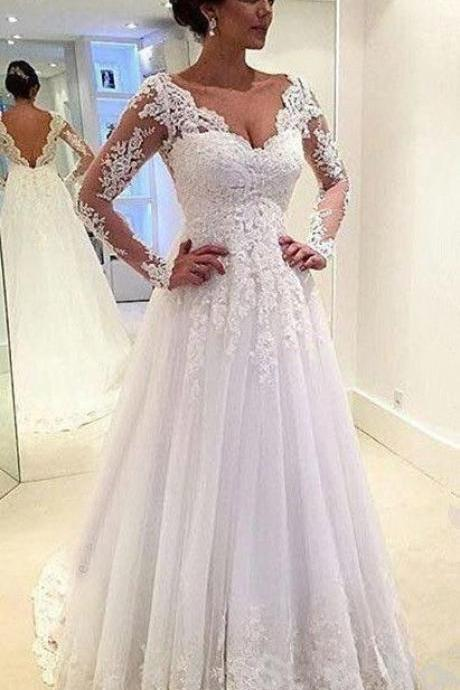Charming long Sleeve Wedding Dress,Lace Wedding Dresses ,Wedding Dress for Bride ,Bridal Dress,Bridal Gown,Wedding Dress Plus Size ,Wedding Dress Costume