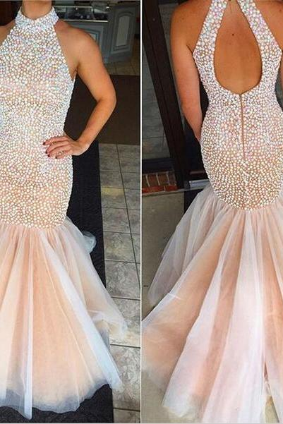 Charming Prom Dress,Halter Evening Dresses,Mermaid Prom Dress,Beading Prom Dress,Halter Prom Dresses,Evening Dresses