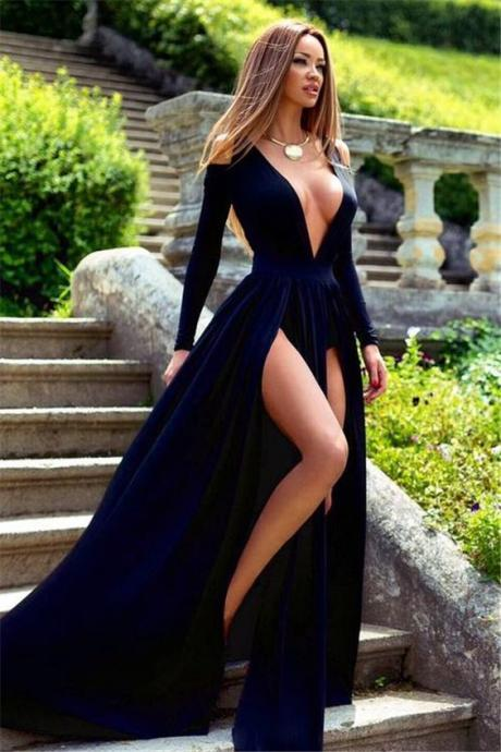 Long Sleeve Deep V-Neck Prom Dress, Slit Party Gowns ,High Quality Wedding Dresses, Quinceanera Dresses,Formal Dress