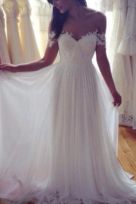 New Elegant Beach Wedding Dress,Sweetheart Appliques Wedding Dresses,Chiffon Vintage Boho Backless Bride Dress