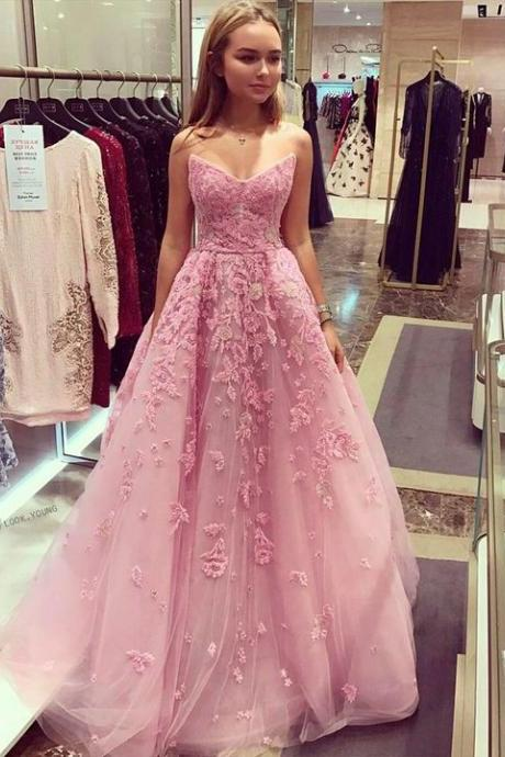 Charming Prom Dress,Long Homecoming Dress, Appliques Tulle Prom Dress,Elegant Prom Dresses,Sweetheart Evening Dress