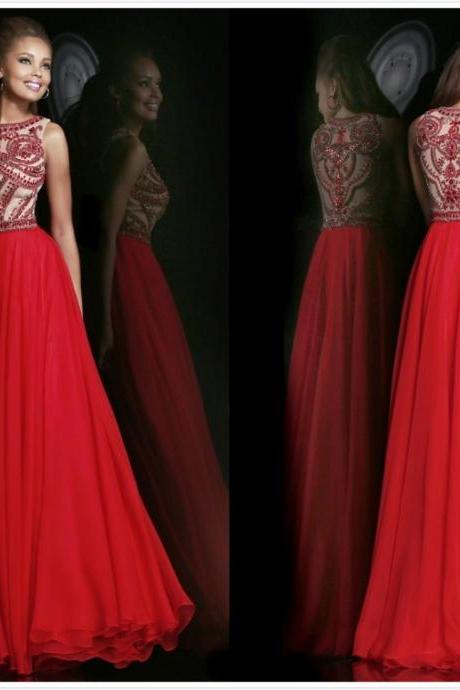 Elegant Beaded High Neck Red Chiffon Long Formal Evening Dresses Prom Party Gowns,Hot Sale Prom Dresses,Backless Evening Dress