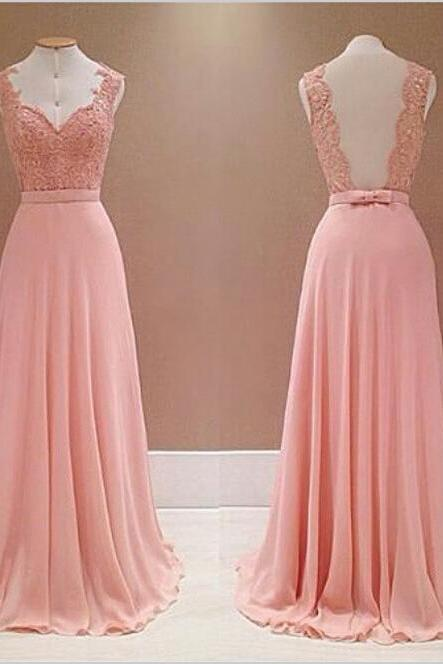 Pretty Prom Dress,Sweetheart Prom Dress,Chiffon Prom Dress,Floor Length Prom Dress,Lace Prom Dress, Appliques Prom Dress,Backless Prom Dress ,Gowns For Wedding Party