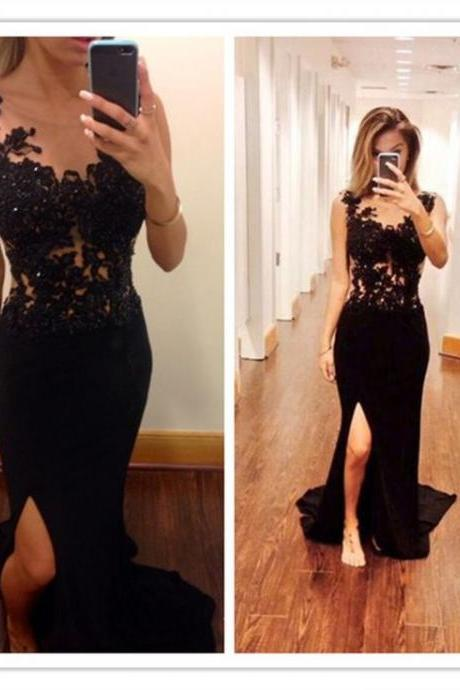Mermaid Prom Dresses,Black Lace Prom Dress,Slit Prom Dress,Modest Evening Gowns,Cheap Party Dresses,Graduation Gowns,Backless Evening Dress