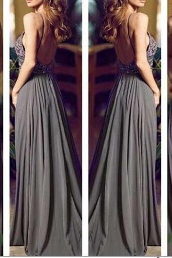 Gray Long Prom Dresses, Straps Prom Gowns,Beaded Evening Dresses, Backless Evening Gowns, Cocktail Dresses Custom,Backless Evening Dress