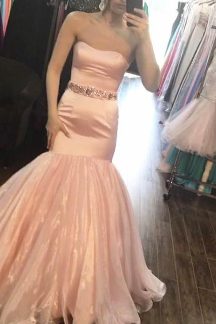 blush pink satin mermaid prom dresses with crystal beaded sashes Prom Dresses,Backless Evening Dress