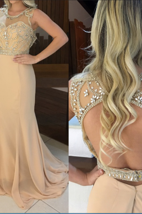 Beautiful Long Prom Dress, Charming Prom Dress,Chiffon Prom Dress,Chiffon Prom Dress,Beading Evening Dress