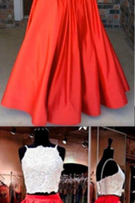 White And Red Prom Dresses,Modern Two Piece Prom Dresses,Square Neck Floor-Length Evening Dresses,Ruched Red Prom Dress, with Beading Pockets Evening Gowns