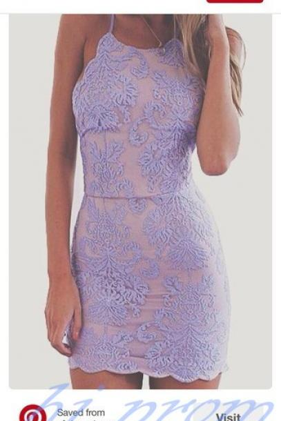 Lavender Homecoming Dress,Lace Homecoming Dresses,Short Prom Gown,Homecoming Gowns, Homecoming Dress,Cheap Homecoming Dresses,backless Party Dress For Teens