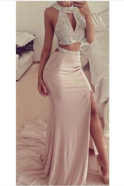 Beaded Prom Dresses,Beading Prom Dress,Sexy Prom Gown,2 Pieces Prom Gowns,Elegant Evening Dress,Two Piece Evening Gowns,2 Pieces Evening Gowns,Slit Prom Dress