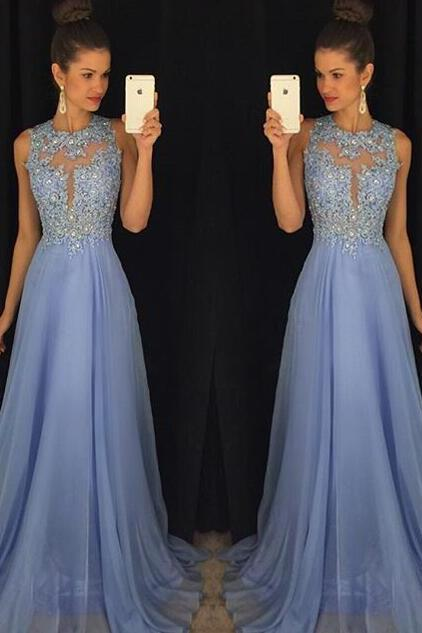 Blue Prom Dresses,Elegant Evening Dresses,Long Formal Gowns,Beaded Party Dresses,Chiffon Pageant Formal Dress,Floor Length Prom Dress,Evening Gowns