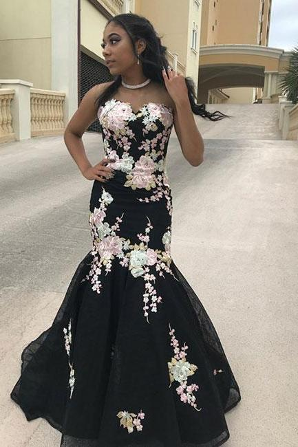 Black mermaid prom dresses,applique lace long prom dress, evening dress