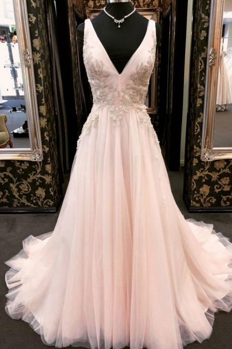 Pink A Line Wedding dresses,Tulle Wedding dress,lace Bridal Dresses