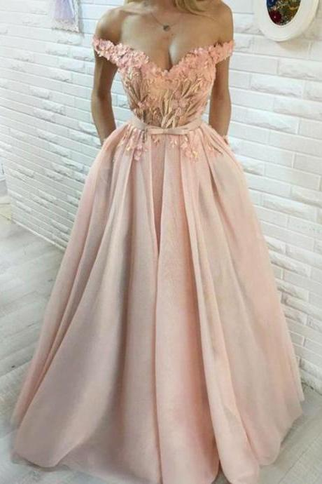 Ball Gown Off-the-Shoulder Prom Dress,Pearl Pink Tulle Prom Dresses,Appliques Prom Dress with Flowers