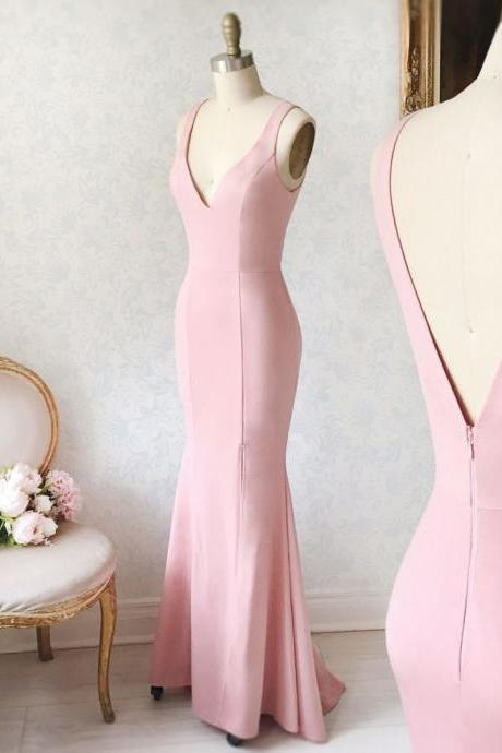 Simple Pink V-Neck Prom Dresses,Mermaid Formal Dress,Straps Pink Prom Dress