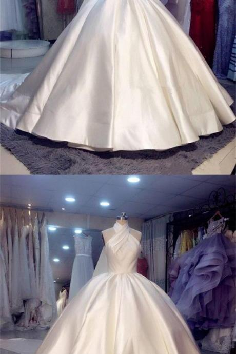 Vintage Style Satin Wedding Dress,Ball Gowns Wedding Dresses Halter Top