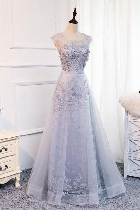 A Line Prom Gown,Lace Prom Dress,Evening Gowns,Party Dresses,Evening Gowns,Tulle Formal Gown For Teens