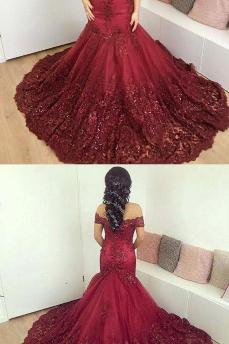 Burgundy Lace Prom Dresses,off-the-shoulder Evening Dresses, Mermaid Prom Gowns