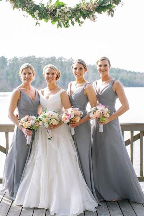simple grey chiffon long bridesmaid dresses, modest v neck wedding party dresses, cheap a line bridesmaid dresses with pleats