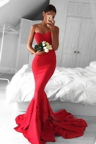 Red Sweetheart Prom Dresses,Floor Length Mermaid Prom Dress Featuring Sweep Train, Formal Dress