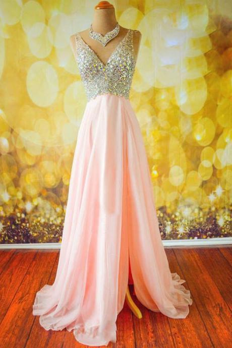 Top Selling Long Pink Prom Dress,Beading Prom Dresses,V-neck Prom Dresses ,Modest Prom Dress,Evening Dresses