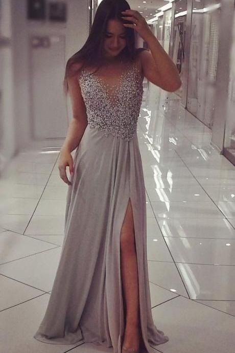 Grey Chiffon Prom Dresses,Sparkly Beaded Prom Dress with Slit,Sexy V-Neck Prom Dress, Evening Dresses,Prom Gowns, Formal Women Dress, Evening Gowns
