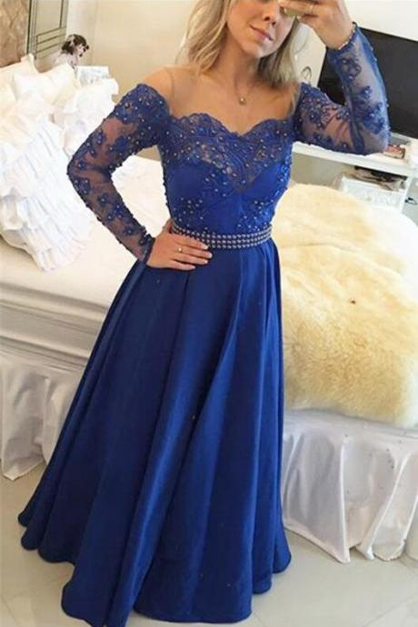 Bule Prom Dress, Sexy Evening Dress,Long Sleeve Beaded Prom Dress,Long Evening Dress,Floor Length Formal Dress,High Quality Graduation Dresses,Wedding Guest Prom Gowns, Formal Occasion Dresses,Formal Dress
