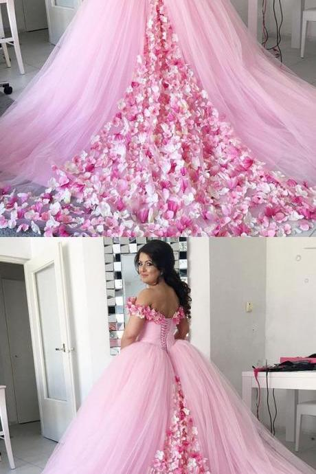 Pink Tulle Floral Flower Wedding Dress,Ball Gowns Wedding Dresses, Off Shoulder Prom Sweet 16 Dresses