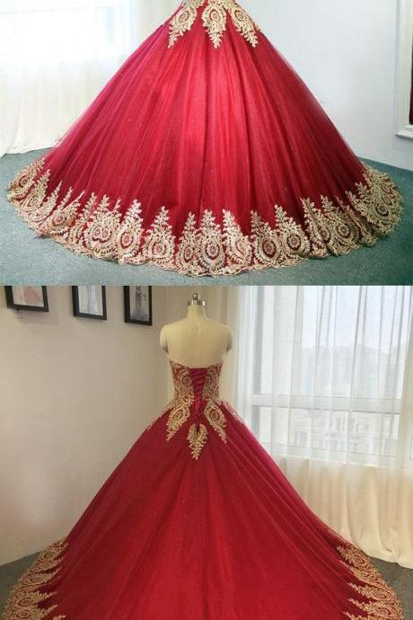 Gold Lace Embroidery Wedding Dress,Sweetheart Tulle Wedding Dresses, Burgundy Ball Gowns For Bride,Long Formal Dress,Burgundy Prom Dresses, Evening Gowns