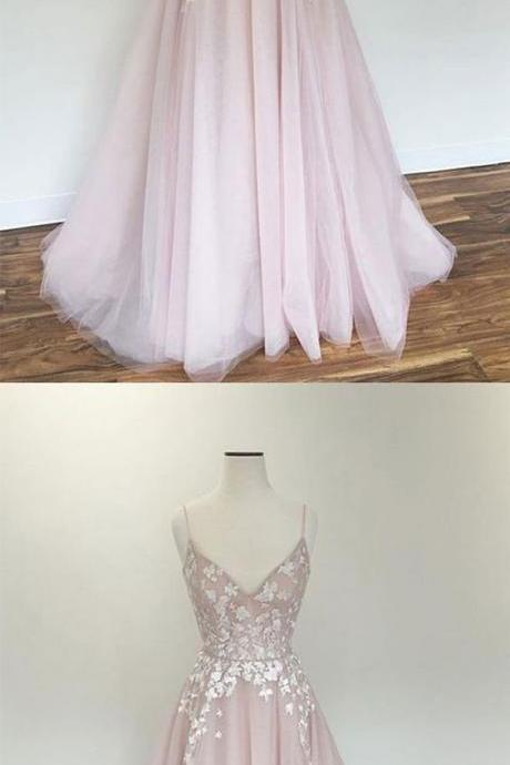 Light pink v neck prom dresses, tulle applique long prom dress, pink evening dress,Long Formal Dress,Prom Dresses, Evening Gowns