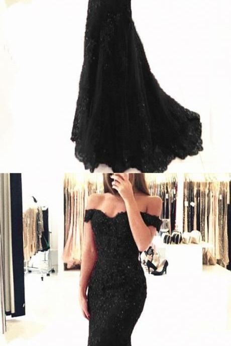 Long Black V-neck Prom Dresses,,Off-the-shoulder Mermaid Prom Dresses, Formal Evening Gowns,Long Formal Dress,Prom Dresses, Evening Gowns