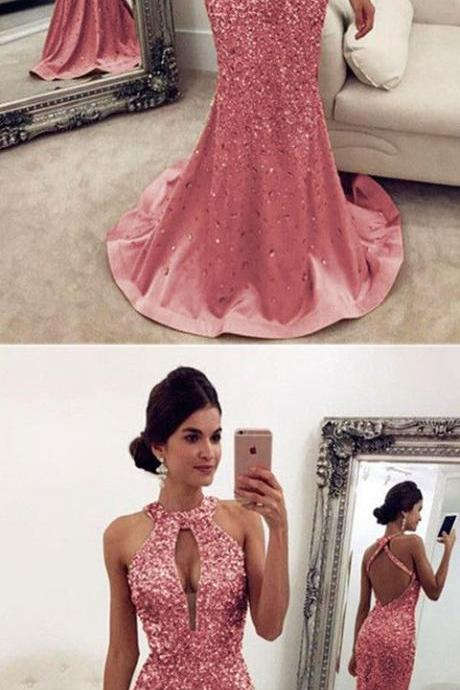 Luxurious Crystal Beaded Prom Dresses,Halter Open Back Mermaid Evening Dresses ,pink Prom Dresses,Evening Gowns ,Prom Dresses, Evening Gowns