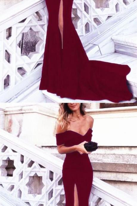 dark red prom dress,mermaid prom dress,mermaid evening gowns,wine red evening dress,burgundy prom dress, Evening Gowns