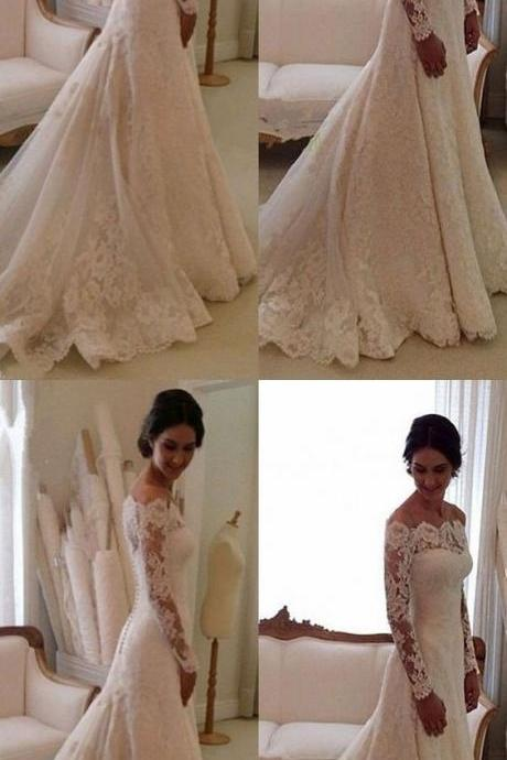 Elegant Bateau wedding dress,Long Sleeves wedding dresses, fashion bodycon Sheath Lace bride Dress Sweep Train