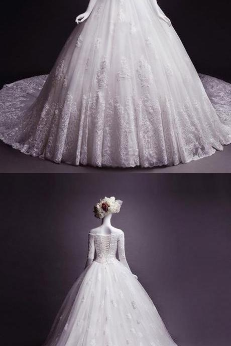 Fashion wedding dress,off-the-shoulder wedding dresses,Appliques wedding dresses, classic Half Sleeves bride Dress,evening gowns, chic formal dresses