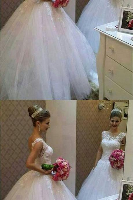 Fashion Ball Gown Wedding Dresses, Scoop Appliques bride dresses, princess dresses, evening gowns, chic formal dresses