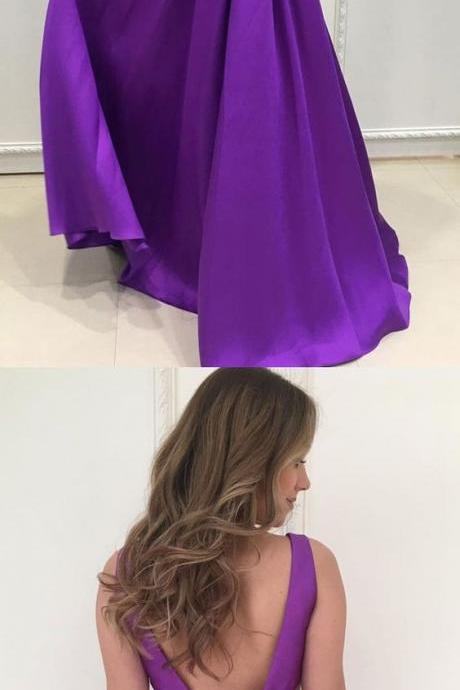 elegant plunging satin prom dresses, stunning purple backless prom dresses with pockets, fashion a line party dress with pleats