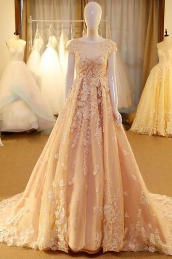 A-line Scoop Sweep Wedding Dresses,Brush Train Tulle Prom Dress, Evening Dress