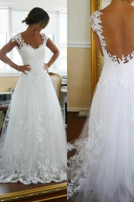 Tulle A-Line Garden Beach Wedding Dresses, With Applique Wedding Dress,Hand-Bead Low Wedding Dresses,Open Back Bridal Gowns, Sweep Train Cheap Wedding Dresses