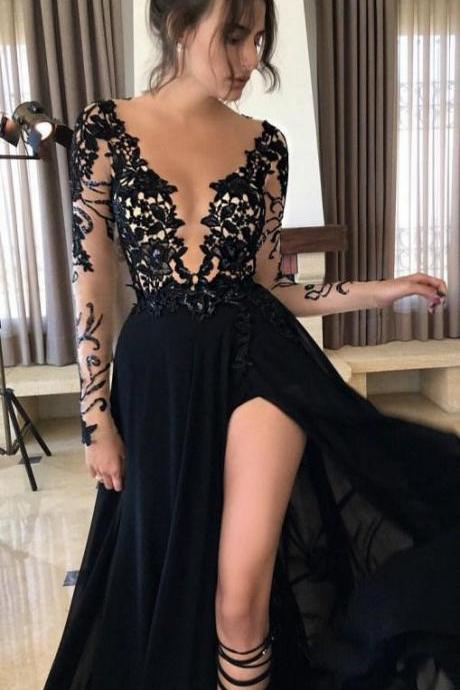 Black Lace Evening Dresses,Long Dress prom dresses,evening gowns,Lace prom gowns,black prom gowns,new style fashion slit prom gowns