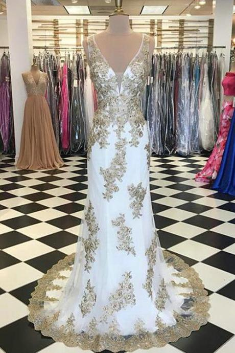 White Mermaid Prom Dresses,Gold Lace Prom Dress,Deep V-Neckline Prom Party Gowns Court Train