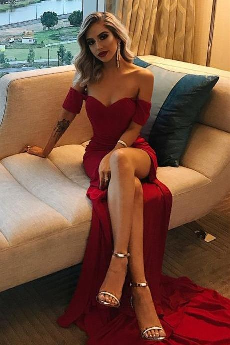 simple off the shoulder prom dress,burgundy prom dresses long, sexy high leg split dark red prom party dress,cheap evening gowns for women