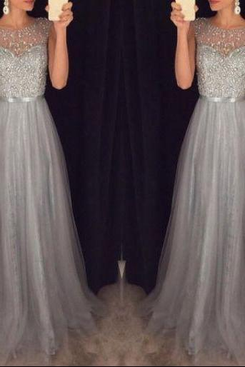New Arrival Cap Sleeves Beading Prom Dresses,Charming Gray Evening Dresses,A-line Modest Prom Gowns,Long Prom Gowns, girls party dress, homecoming dress , cheap short sexy prom dress