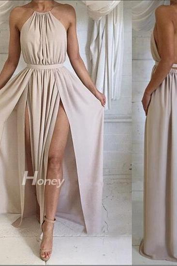 Formal Dress,Sexy halter backless long prom dresses evening dress, Simple A-Line Backless Prom Dress, cheap Formal Dresses,chiffon Formal Dress