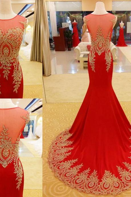 Gorgeous Red Mermaid Prom Dresses,Prom Gowns with Lace Appliques, Red Prom Gowns, Mermaid Prom Dresses, Party Dress,Wedding Guest Prom Gowns, Formal Occasion Dresses,Formal Dress