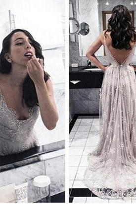 Charming Lace Tulle Prom Dresses,V-Neck Backless Prom Dress,Prom Dresses,Floor-Length Prom Dress,White Formal Dresses,Sexy Prom Dresses, girls party dress, White sexy prom Dresses,homecoming dress , cheap short sexy prom dress .