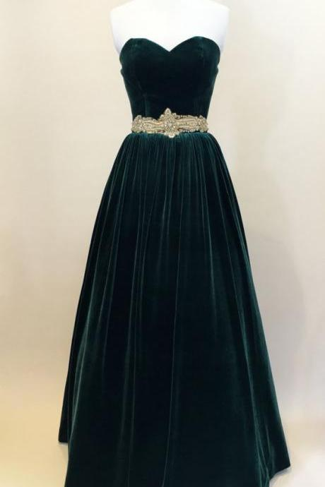 Custom Made Dark Green Prom Dresses,Velvet Sweetheart Neckline Long Evening Dress, Prom Dresses, Evening Party Dresses, Formal Gowns