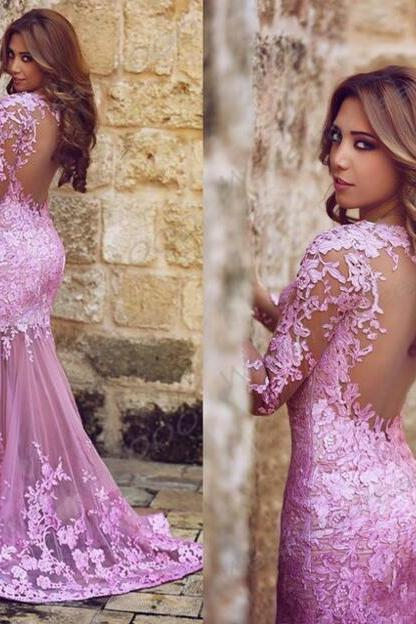 Sexy Gorgeous Long Sleeves Prom Dresses,Mermaid Long Prom Dress with Lace,Wedding Guest Prom Gowns, Formal Occasion Dresses,Formal Dress